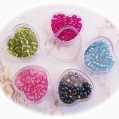 Bild334 5 Herzdosen Perlen Roccaills Kinderperlen