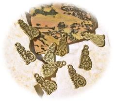 Metallanhänger Katzen bronze