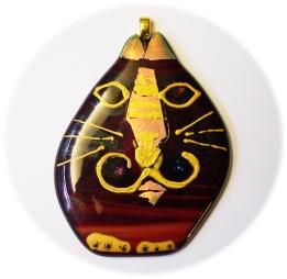 Bild474 Glasanhaenger Katze mit gold